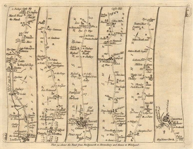 Associate Product Ludlow Church Stretton Shrewsbury Whitchurch Chester. KITCHIN road map 1767