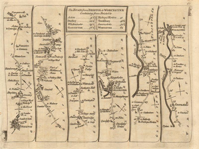 Associate Product Bristol Dursley Gloucester Tewkesbury Kempsey Worcester. KITCHIN road map 1767