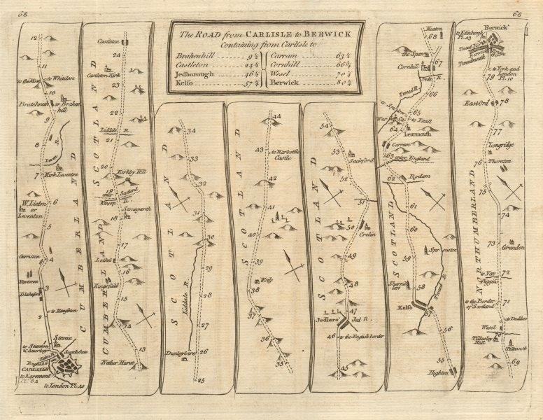 Associate Product Carlisle Brackenhill Jedburgh Kelso Berwick-upon-Tweed. KITCHIN road map 1767