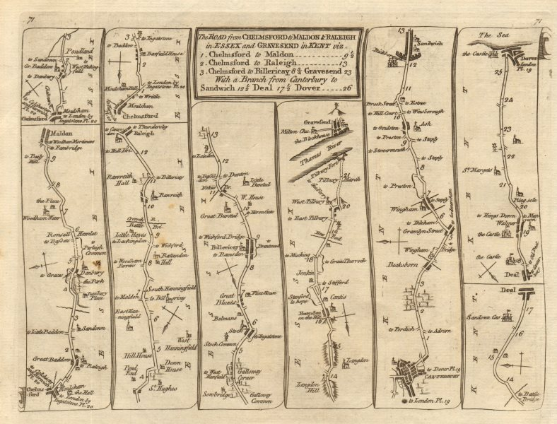 Chelmsford Billericay Gravesend Canterbury Sandwich Dover KITCHIN road map 1767