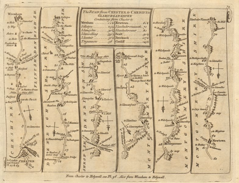 Associate Product Chester Wrexham Ruabon Llanfyllin Tregynon Newtown. KITCHIN road map 1767