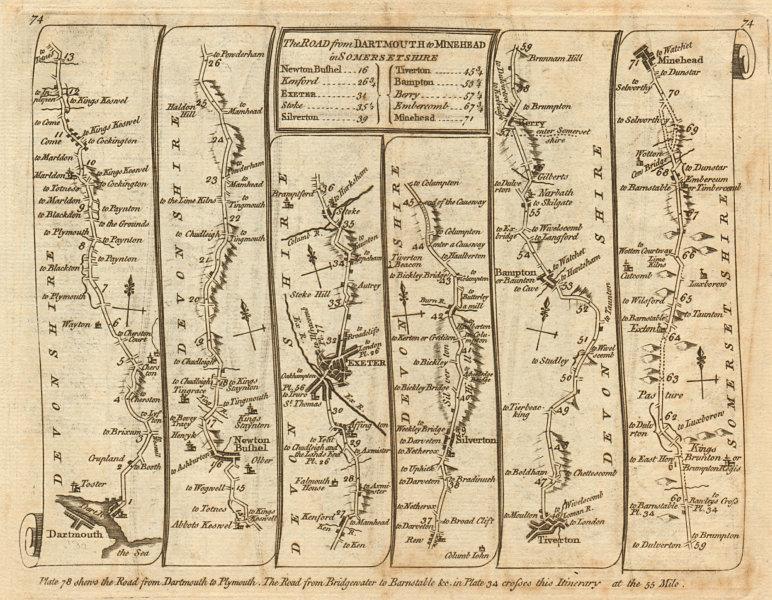 Associate Product Dartmouth Newton Abbot Exeter Tiverton Minehead. KITCHIN road map 1767 old