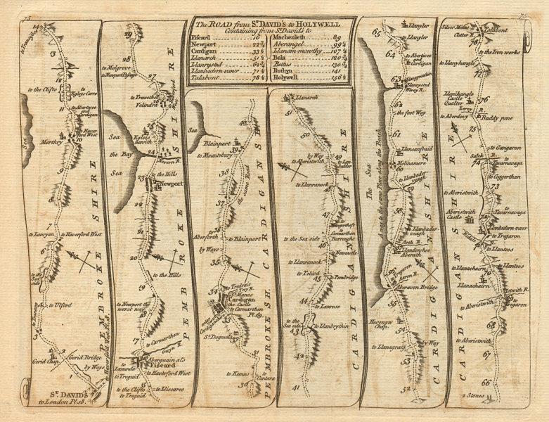 Associate Product St David's Fishguard Cardigan Aberystwyth Talybont. KITCHIN road map 1767