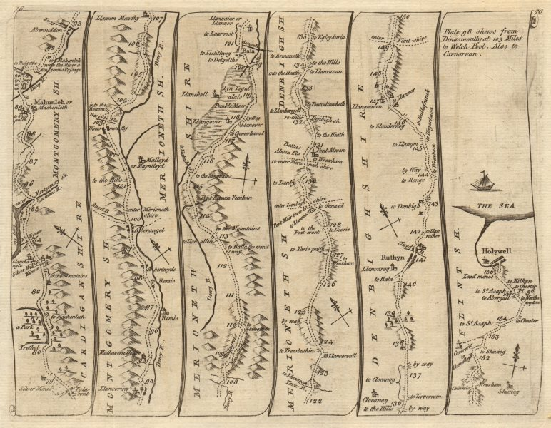 Associate Product Machynlleth Aberangell Dinas Bala Ruthin Holywell. KITCHIN road map 1767