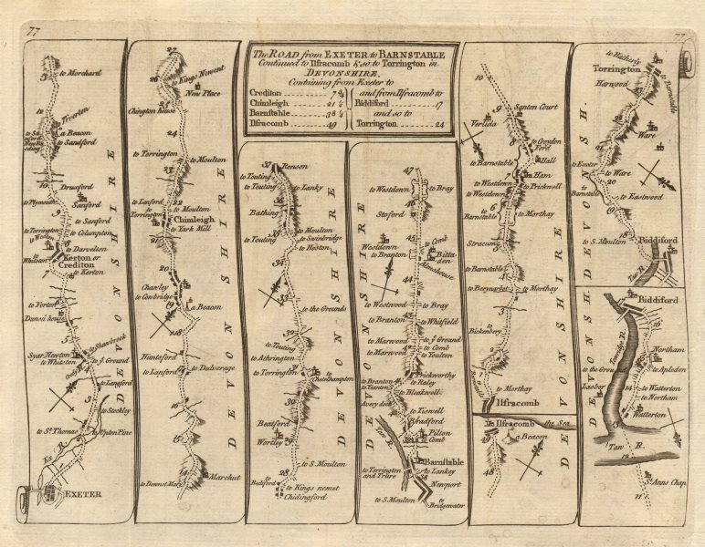 Associate Product Exeter Crediton Ilfracombe Bideford Torrington. KITCHIN road map 1767 old