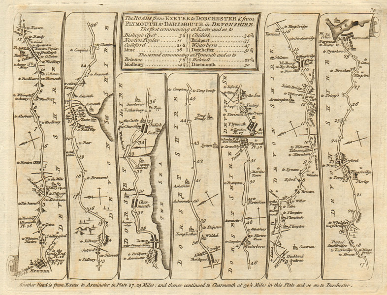 Associate Product Exeter Lyme Regis Bridport Dorchester Plymouth Dartmouth. KITCHIN road map 1767
