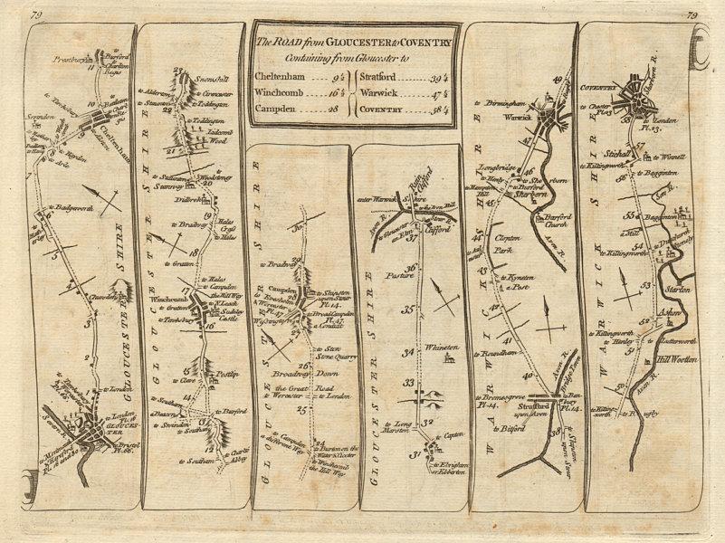 Associate Product Gloucester Cheltenham Stratford on Avon Warwick Coventry. KITCHIN road map 1767