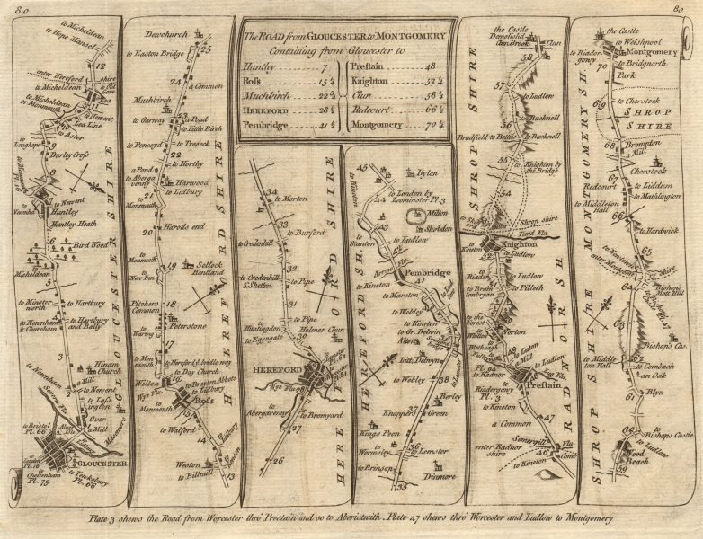 Associate Product Gloucester Ross-on-Wye Hereford Presteigne Montgomery. KITCHIN road map 1767