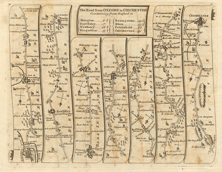 Associate Product Oxford Abingdon Newbury Petersfield Chichester. KITCHIN road map 1767 old