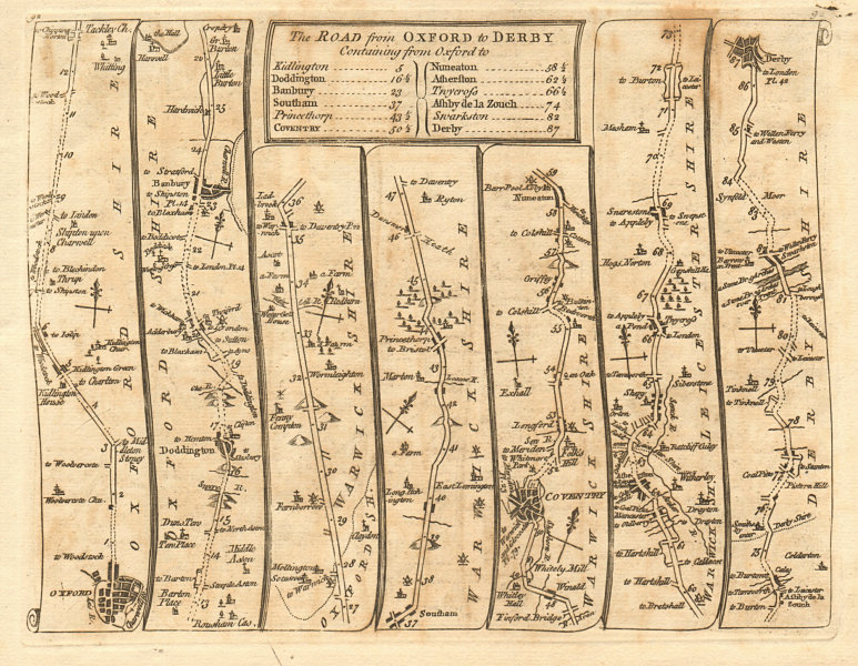 Details about Oxford Kidlington Banbury Southam Coventry Nuneaton Derby   KITCHIN road map 1767