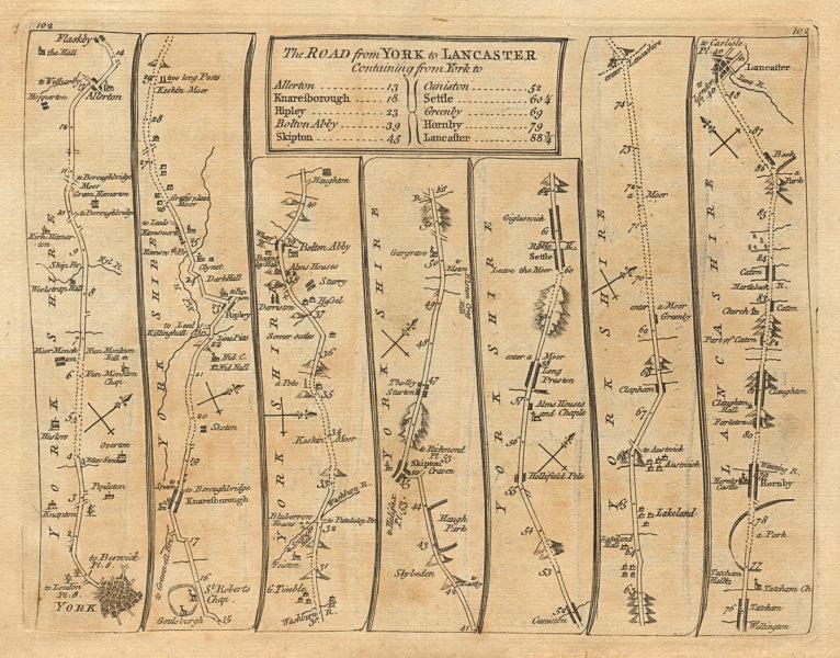 York Allerton Knaresborough Ripley Skipton Lancaster. KITCHIN road map 1767