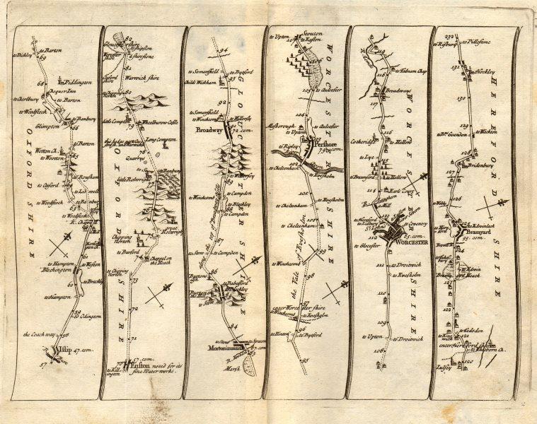 Associate Product Islip Chipping Norton Pershore Worcester Bromyard SENEX #2 road map 1719