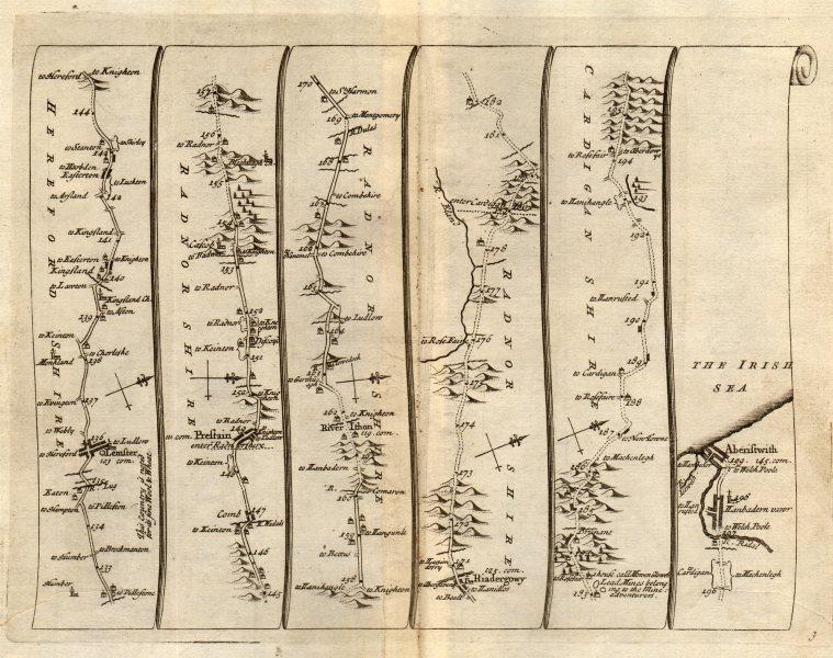 Associate Product Leominster Kingsland Presteigne Rhayader Aberystwyth SENEX #3 road map 1719