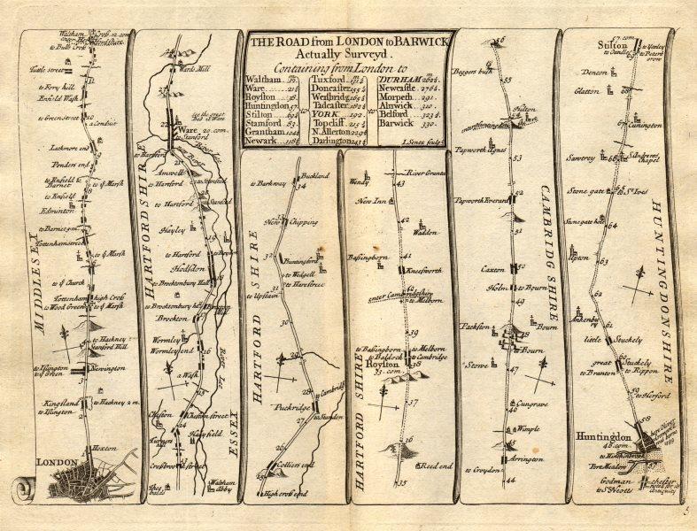 Associate Product London Tottenham Enfield Waltham Hoddesdon Huntingdon SENEX #5 road map 1719