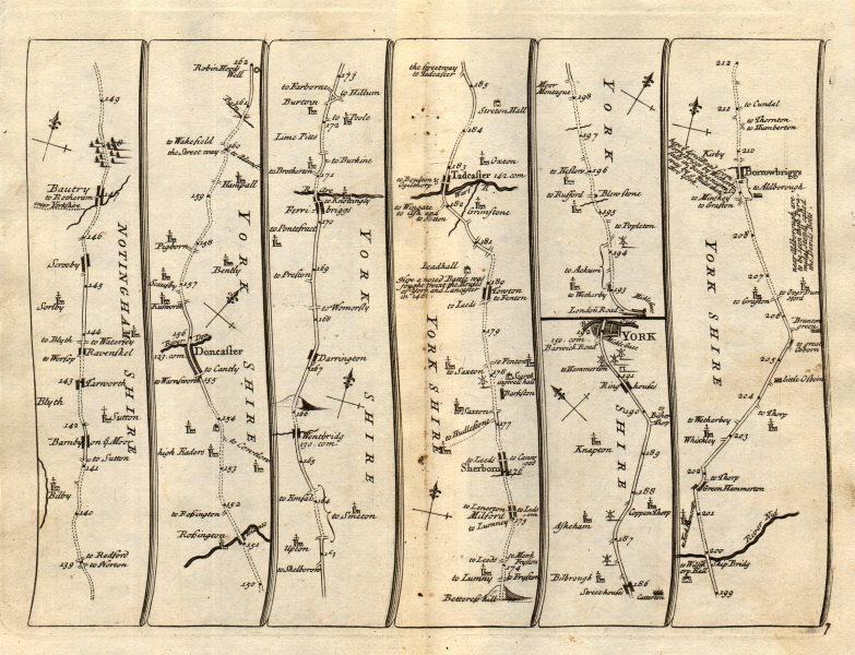 Associate Product Doncaster Ferrybridge Tadcaster York Boroughbridge SENEX #7 road map 1719