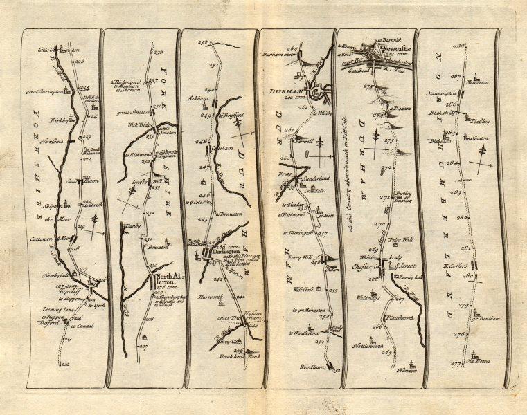 Associate Product Northallerton Darlington Durham Newcastle upon Tyne SENEX #8 road map 1719