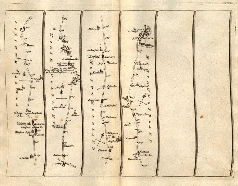 Morpeth Newton/Moor Alnwick Belford Berwick-upon-Tweed SENEX #9 road map 1719