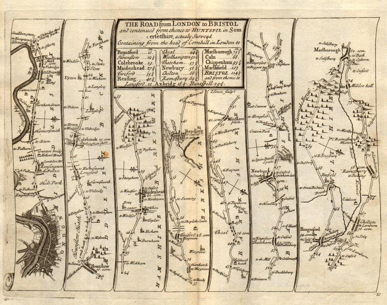 London Maidenhead Reading Newbury Hungerford Marlborough SENEX #10 road map 1719