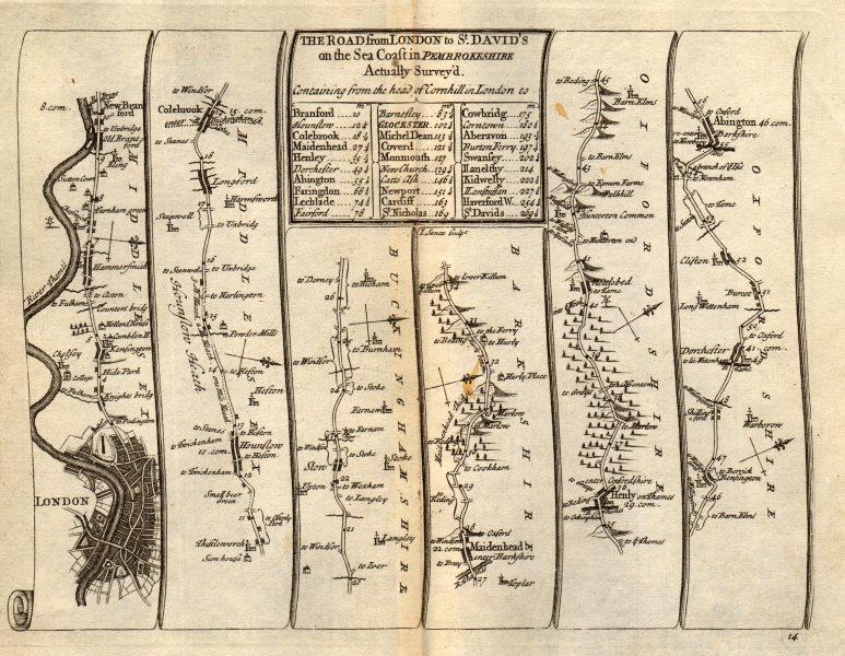 Associate Product London Hammersmith Slough Maidenhead Henley Abingdon SENEX #14 road map 1719