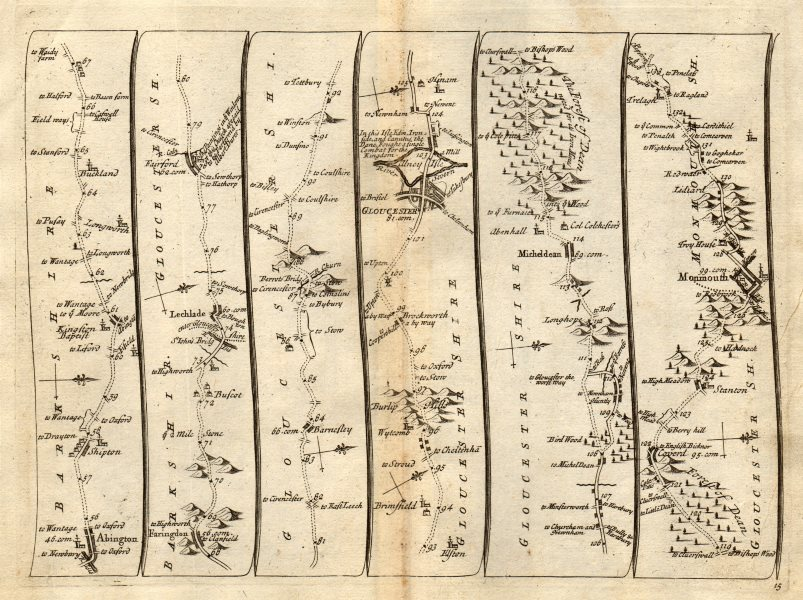 Associate Product Abingdon Faringdon Lechlade Fairford Gloucester Monmouth SENEX #15 road map 1719