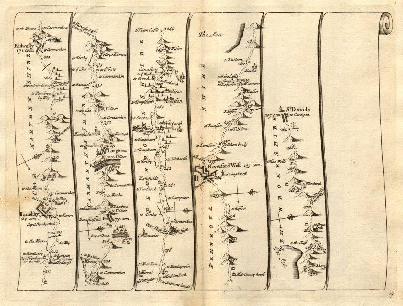 Associate Product Llanelly Kidwelly Llansteffan Haverfordwest St Davids SENEX #17 road map 1719