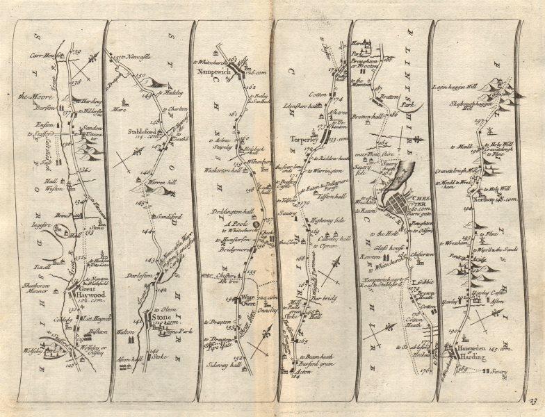 Associate Product Great Haywood Barlaston Nantwich Chester Hawarden Northop SENEX 23 road map 1719