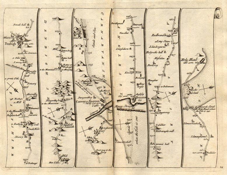 Associate Product Denbigh Conwy Beaumaris Holyhead North Wales SENEX #24 road map 1719 old