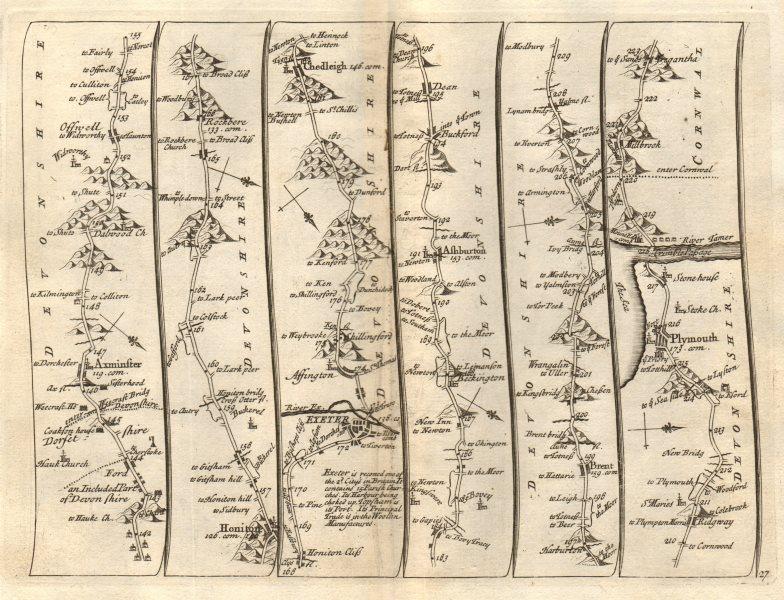 Associate Product Axminster Honiton Exeter Ashburton Plymouth Tregantle SENEX #27 road map 1719