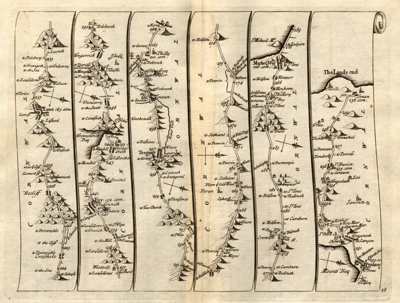 Associate Product Looe Fowey St Austell Penzance Sennen Land's End SENEX #28 road map 1719