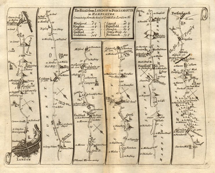 Associate Product London Wandsworth Kingston Guildford Godalming Portsmouth SENEX 30 road map 1719