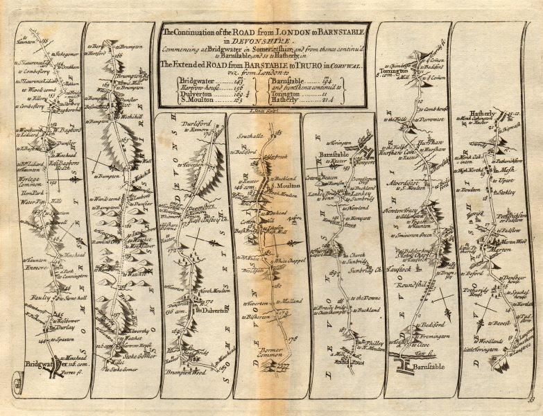 Associate Product Bridgwater South Molton Barnstable Great Torrington SENEX #33 road map 1719
