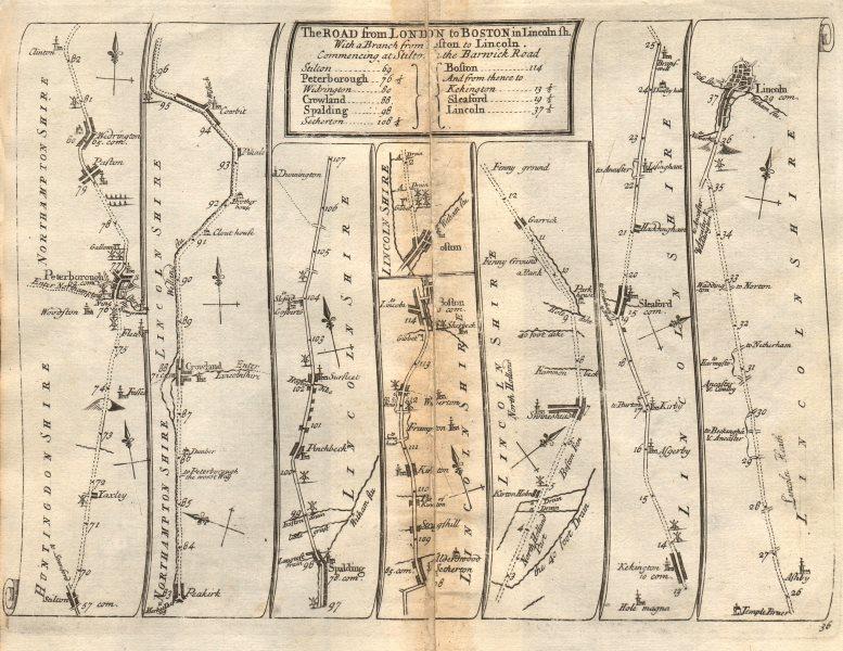 Associate Product Yaxley Peterborough Spalding Boston Sleaford Lincoln SENEX #36 road map 1719