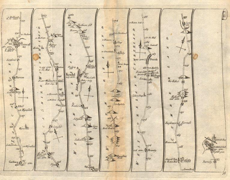 Garstang Lancaster Bolton Kendal Penrith Hesket Carlisle SENEX #38 road map 1719