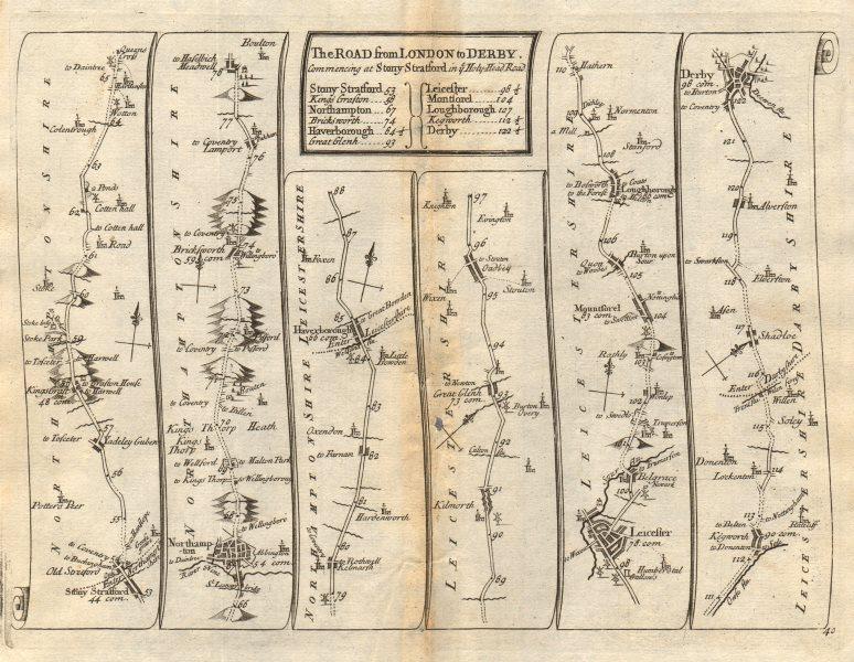 Associate Product Stony Stratford Northampton Leicester Loughborough Derby SENEX #40 road map 1719