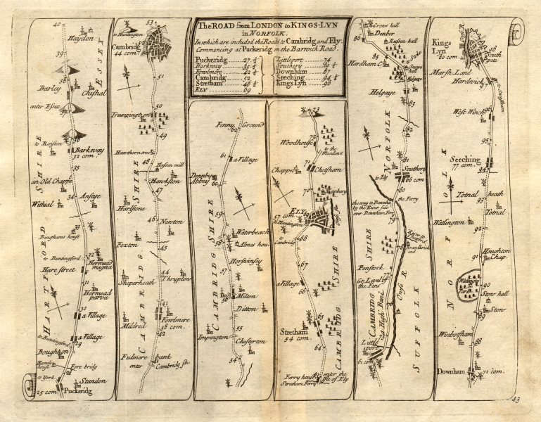 Puckeridge Cambridge Ely Downham Market King's Lynn SENEX #43 road map 1719