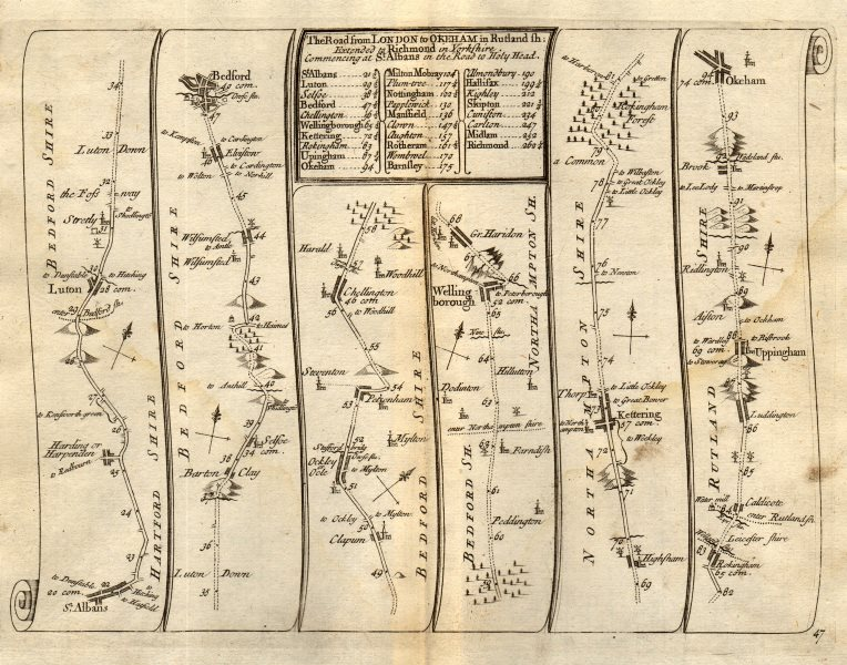 Associate Product St Albans Luton Bedford Wellingborough Kettering Oakham SENEX #47 road map 1719