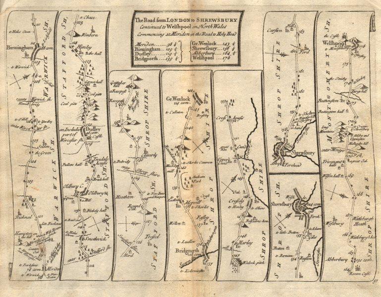 Birmingham Dudley Bridgnorth Shrewsbury Welshpool SENEX #50 road map 1719