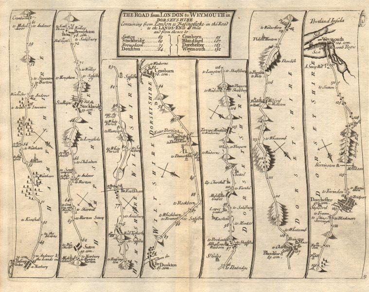 Associate Product Basingstoke Cranborne Blandford Dorchester Weymouth SENEX #53 road map 1719