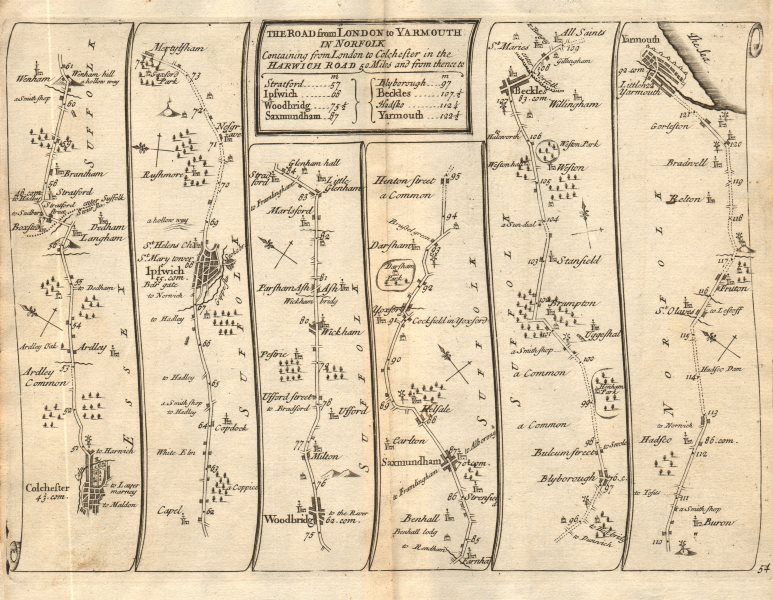 Colchester Ipswich Saxmundham Beccles Great Yarmouth SENEX #54 road map 1719