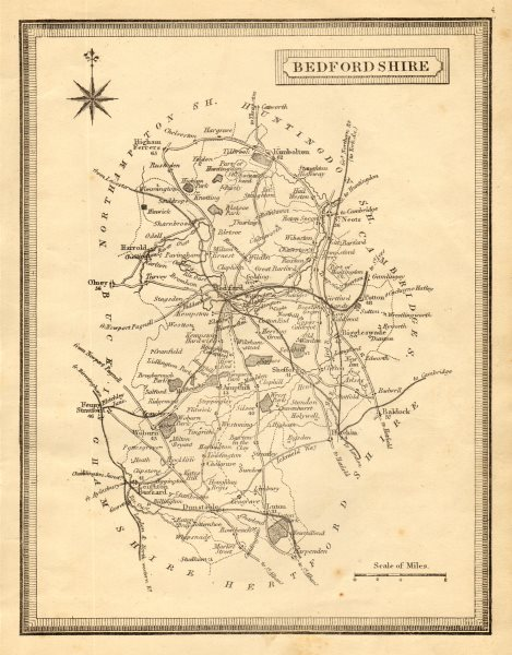 Associate Product Antique county map of Bedfordshire by John Heywood. Railways & coach roads c1864
