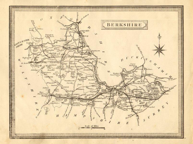 Associate Product Antique county map of Berkshire by John Heywood. Railways & coach roads c1864