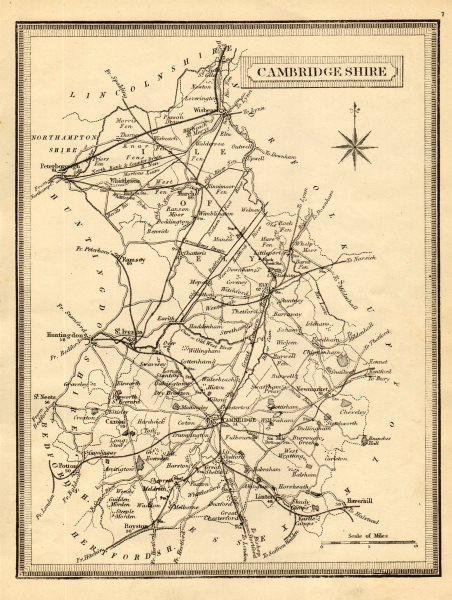 Associate Product Antique county map of Cambridgeshire. John Heywood. Railways. Coach roads c1864