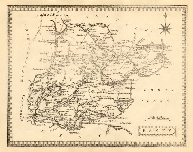 Associate Product Antique county map of Essex by John Heywood. Railways & coach roads c1864
