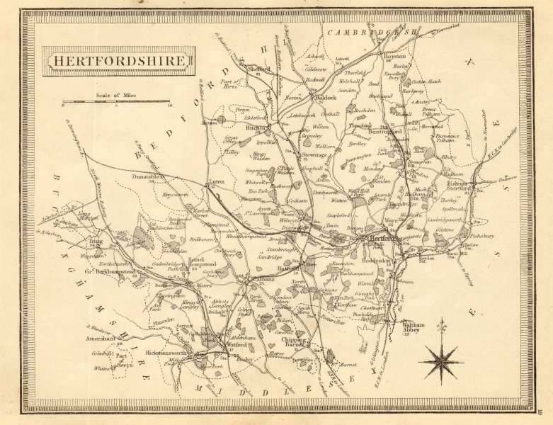 Associate Product Antique county map of Hertfordshire by John Heywood. Railways. Coach roads c1864