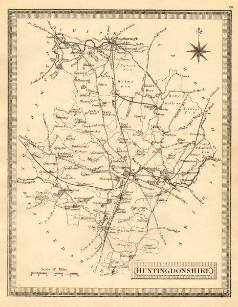 Associate Product Antique county map of Huntingdonshire. John Heywood. Railways. Coach roads c1864