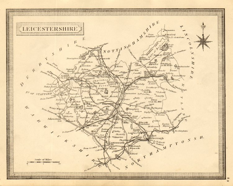 Associate Product Antique county map of Leicestershire. John Heywood. Railways. Coach roads c1864