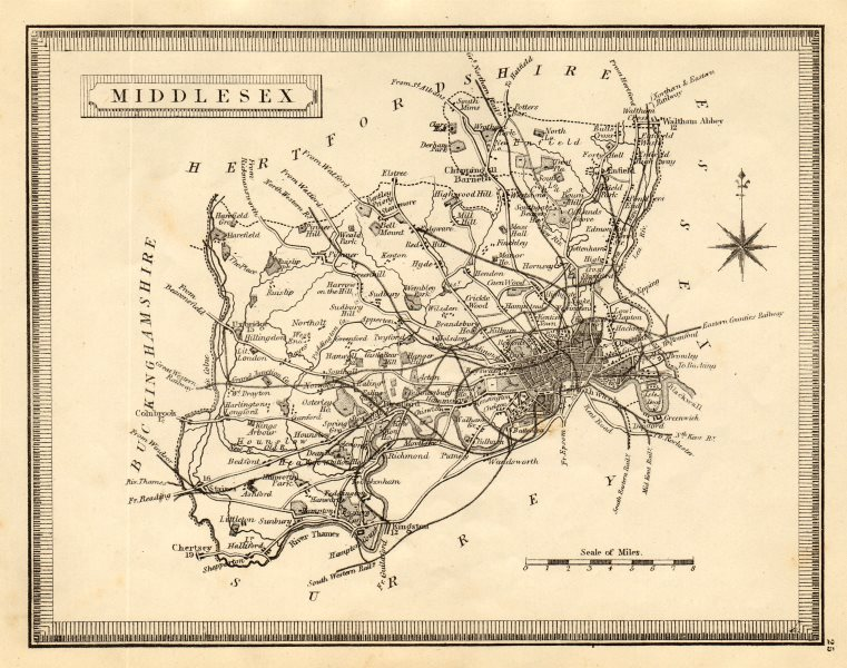 Associate Product Antique county map of Middlesex by John Heywood. Railways & coach roads c1864
