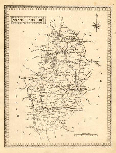 Associate Product Antique county map of Nottinghamshire. John Heywood. Railways. Coach roads c1864