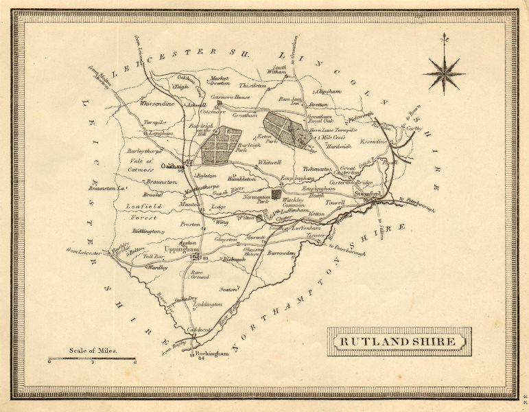 Associate Product Antique county map of Rutlandshire by John Heywood. Railways & coach roads c1864