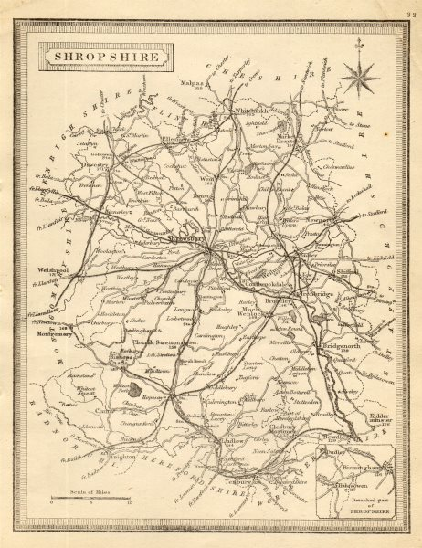 Associate Product Antique county map of Shropshire by John Heywood. Railways & coach roads c1864